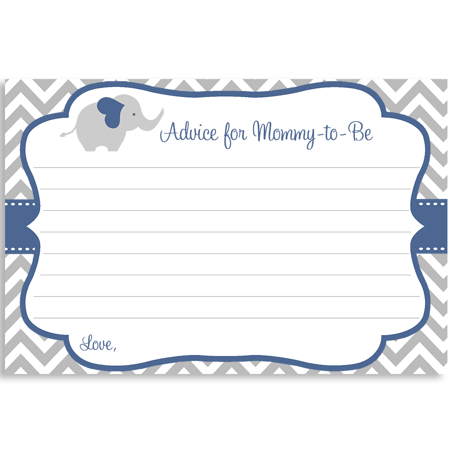 Chevron Elephant Navy Advice Card
