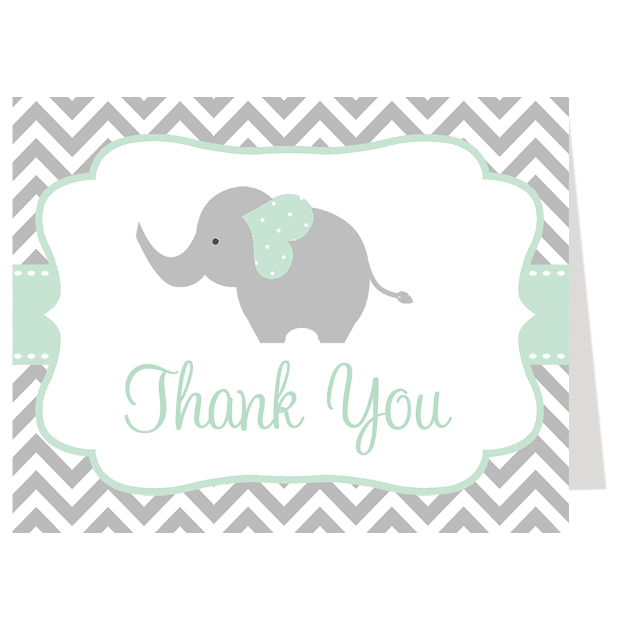 Chevron Elephant Mint Thank You Card