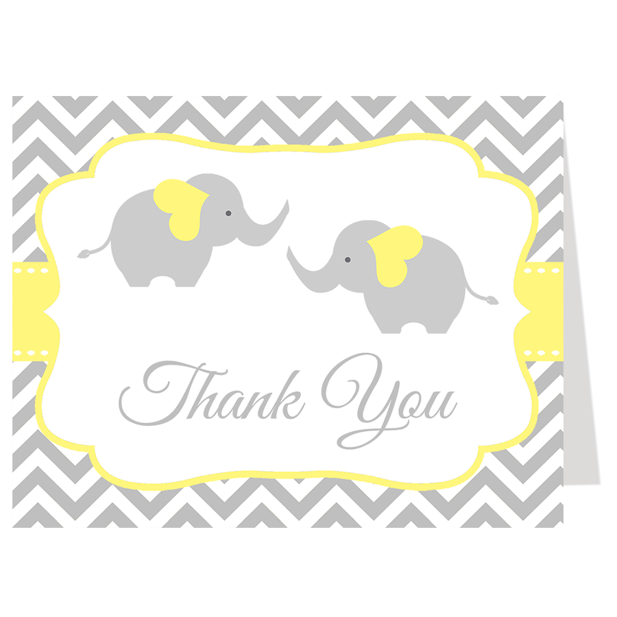 Chevron Elephant Twins Yellow Thank You Card