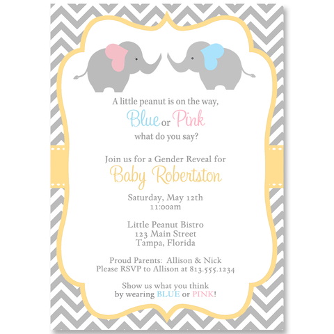 Chevron Elephant Gender Reveal Party Invitation