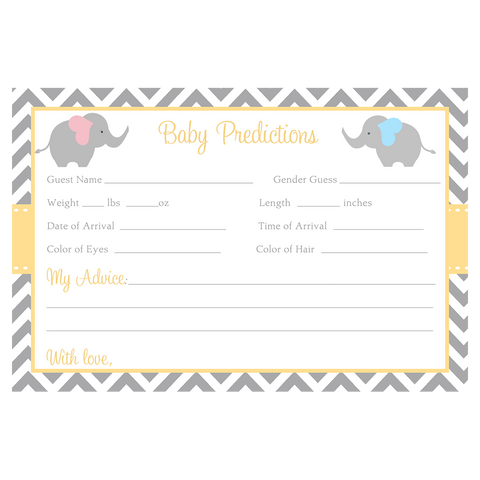 Chevron Elephant Gender Reveal Predictions Card