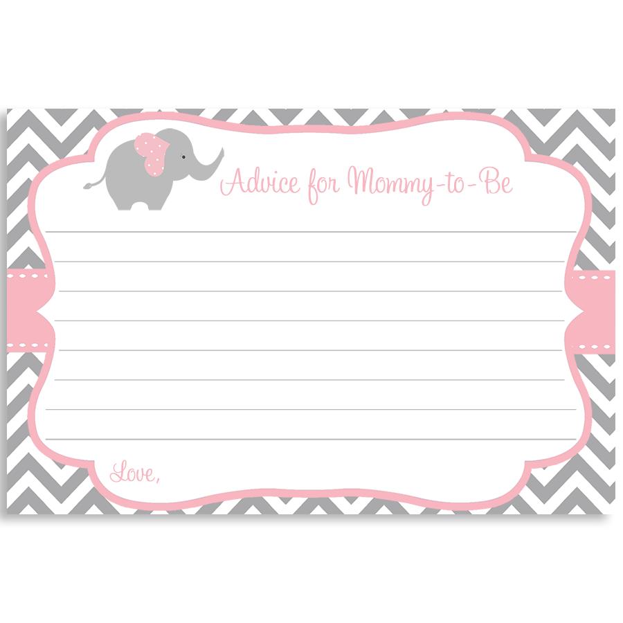 Chevron Elephant Pink Advice Card