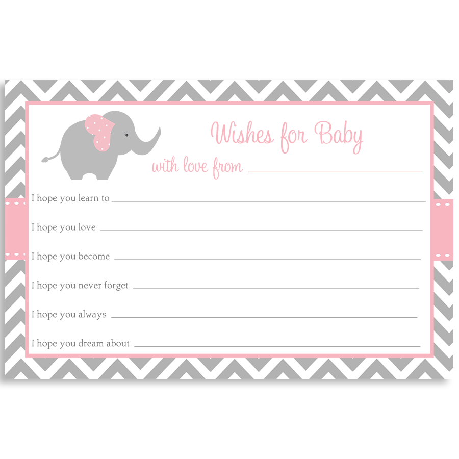 Chevron Elephant Pink Wishes Card