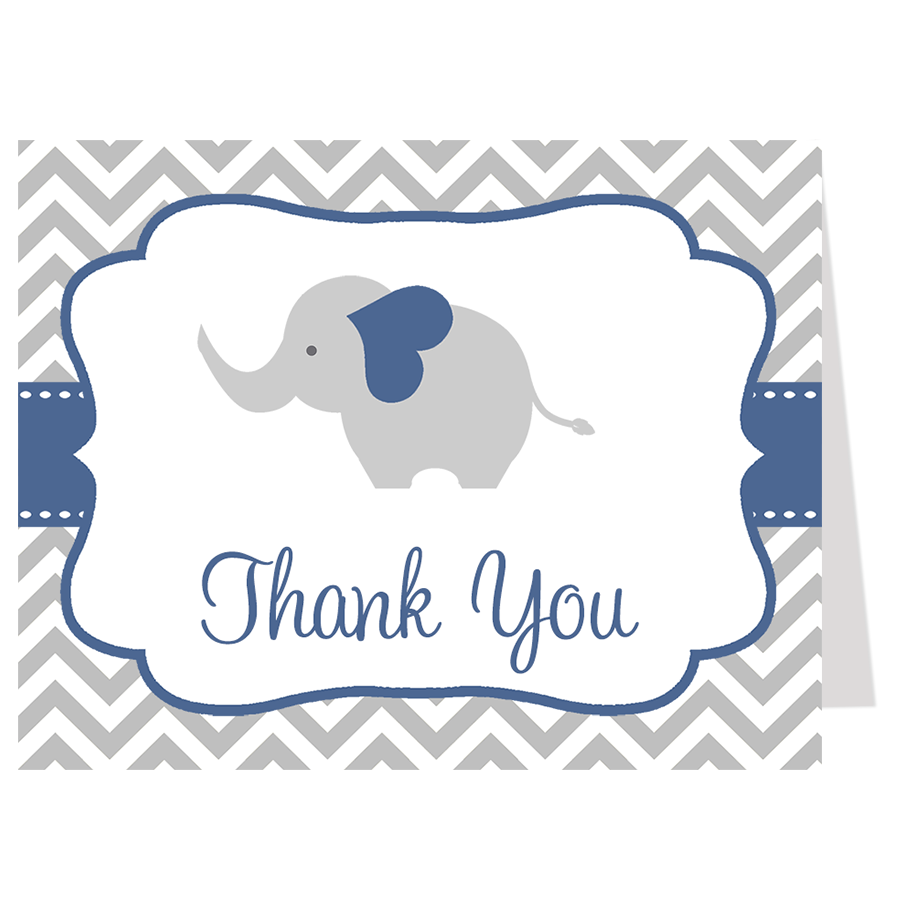 Chevron Elephant Navy Thank You Card