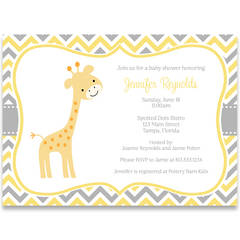 Chevron Giraffe Yellow Baby Shower Invitation