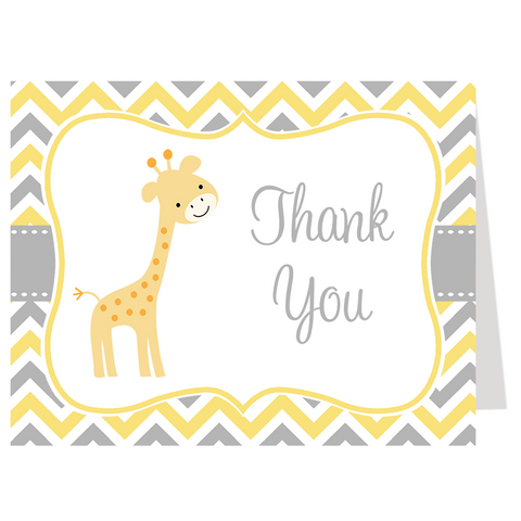 Chevron Giraffe Yellow Thank You Card