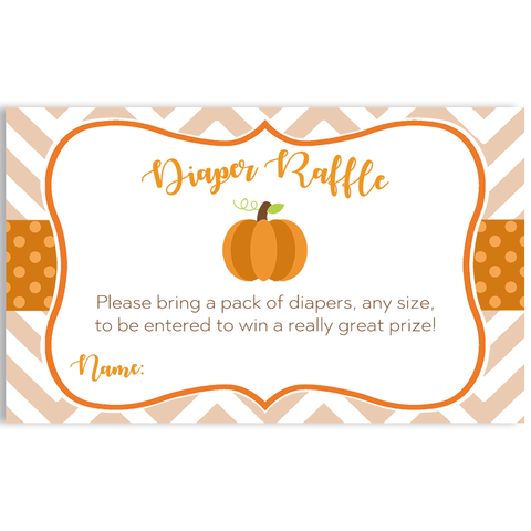 Little Chevron Pumpkin Diaper Raffle Ticket