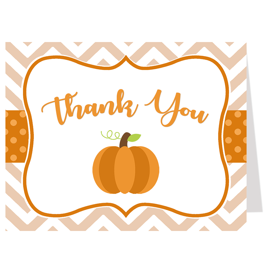 Little Chevron Pumpkin Thank You Card