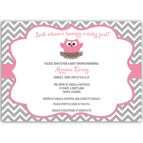 Chevron Owl, Gray and Pink, Baby Shower Invitation