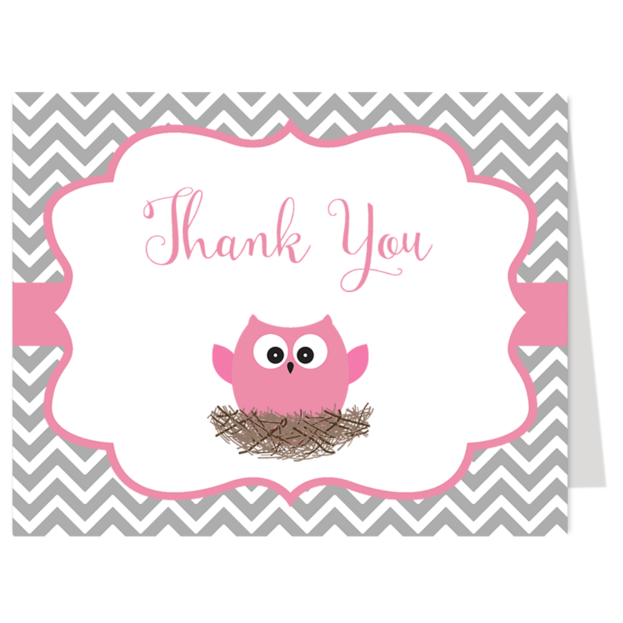 Chevron Owl Gray and Pink Thank You Card