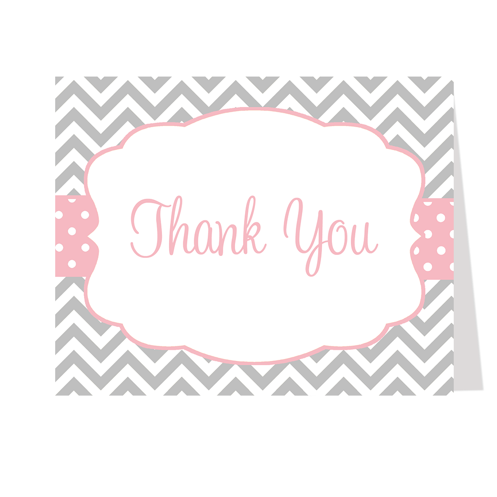 Chevron Stripes and Polka Dots, Pink, Thank You Card