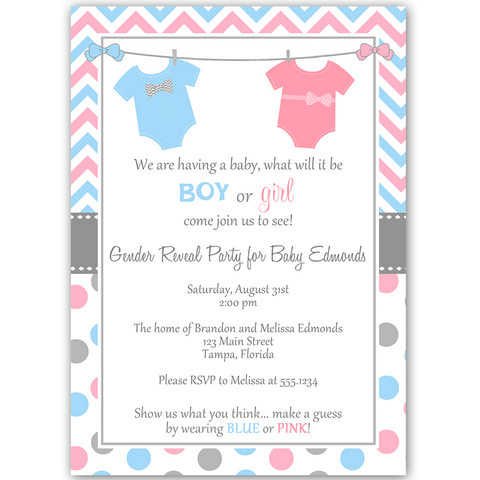 Chevron Stripes and Dots Gender Reveal Party Invitation