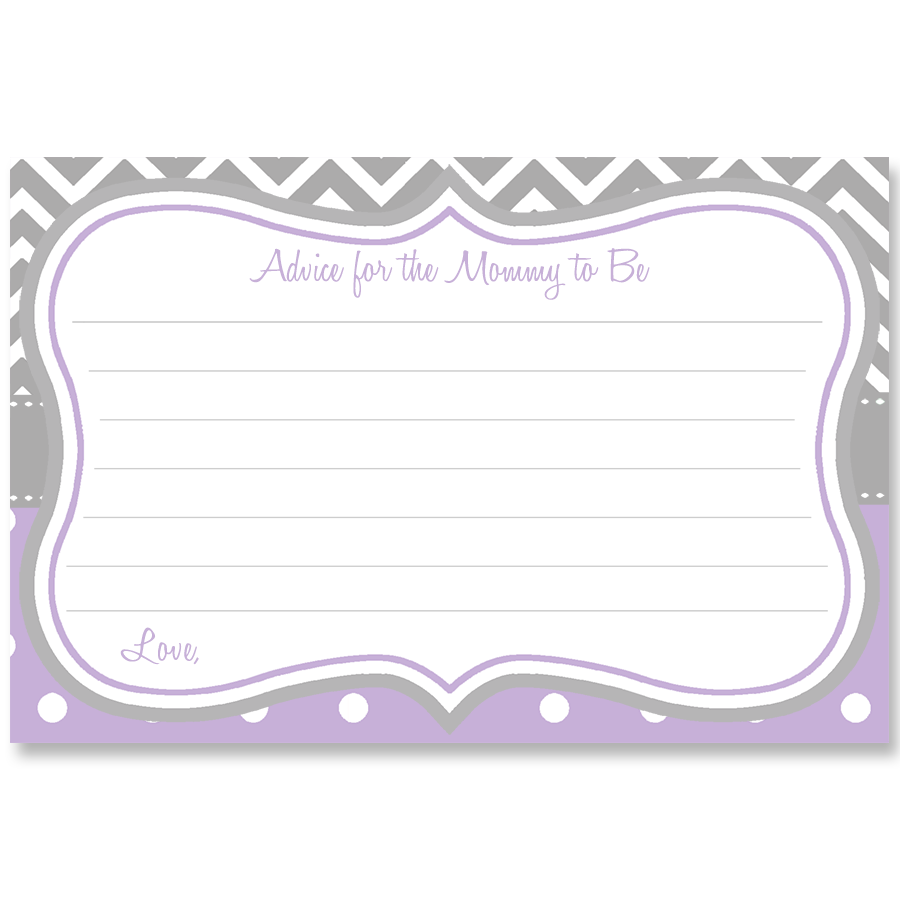 Chevron Stripes and Polka Dots, Purple, Advice Card