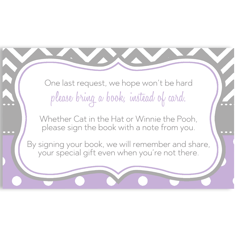 Chevron Stripes and Polka Dots, Purple, Bring a Book Insert