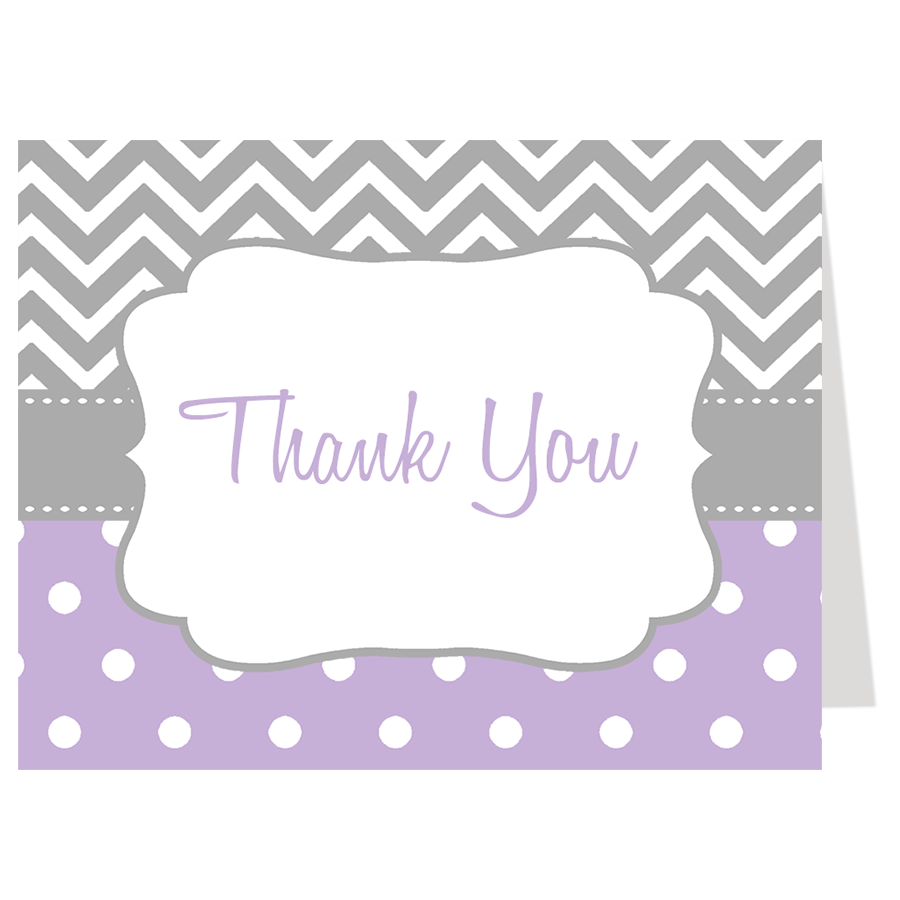 Purple Chevron Thank You Card For Baby Girls The Invite Lady