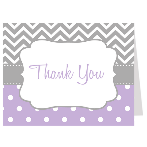 Chevron Stripes and Polka Dots, Purple, Thank You Card