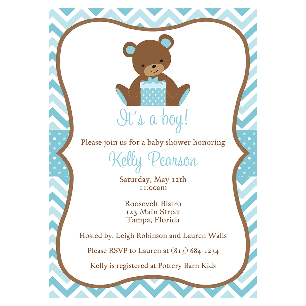 Chevron Teddy Bear Blue Baby Shower Invitation