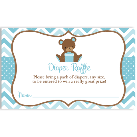 Chevron Teddy Bear Blue Baby Shower Diaper Raffle Ticket