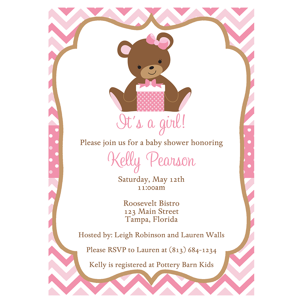 Chevron Teddy Bear Pink Baby Shower Invitation