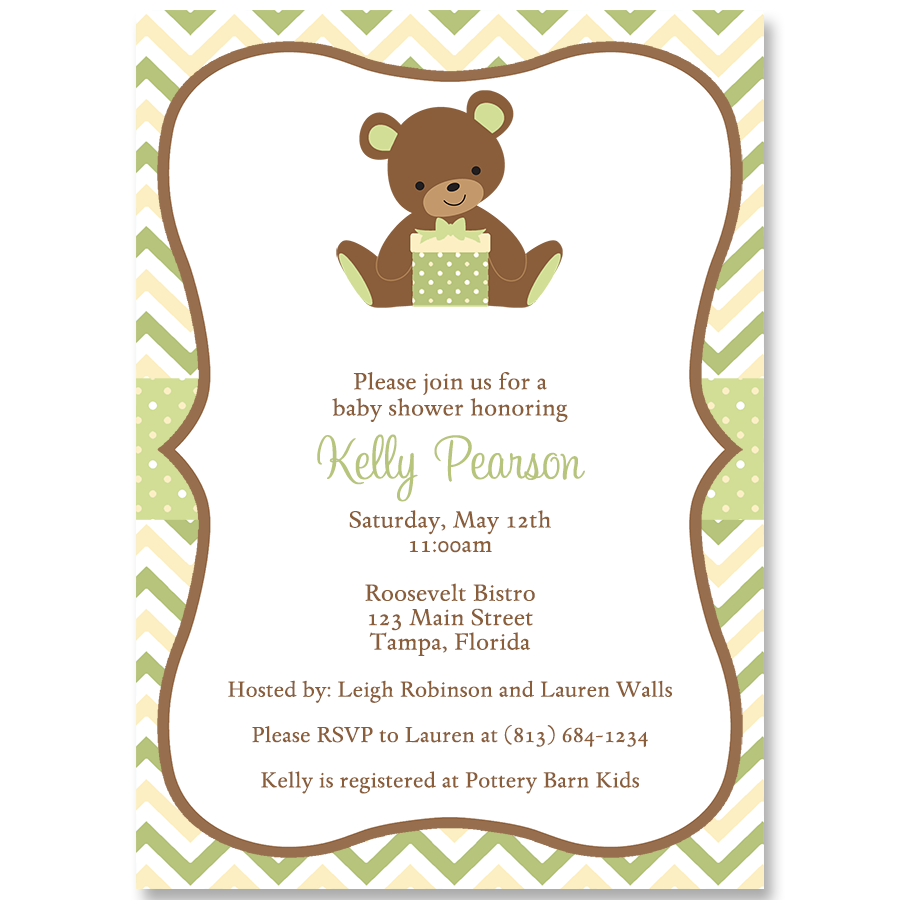 Chevron Teddy Bear, Green and Brown, Baby Shower Invitation – The ...