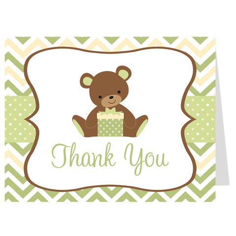 Chevron Teddy Bear Neutral Thank You Card