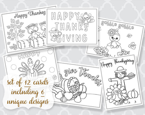 Autumn Coloring Cards Set of 12