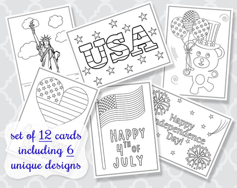 4th of July Coloring Cards