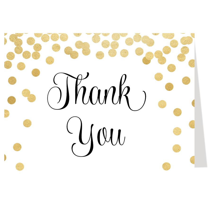 confetti bridal black and gold thank you card the invite lady