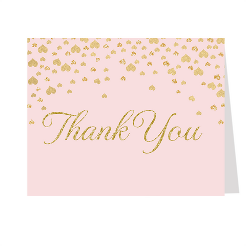 Confetti Hearts, Pink, Thank You Card