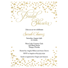 Confetti Hearts, White and Gold, Bridal Shower Invitation