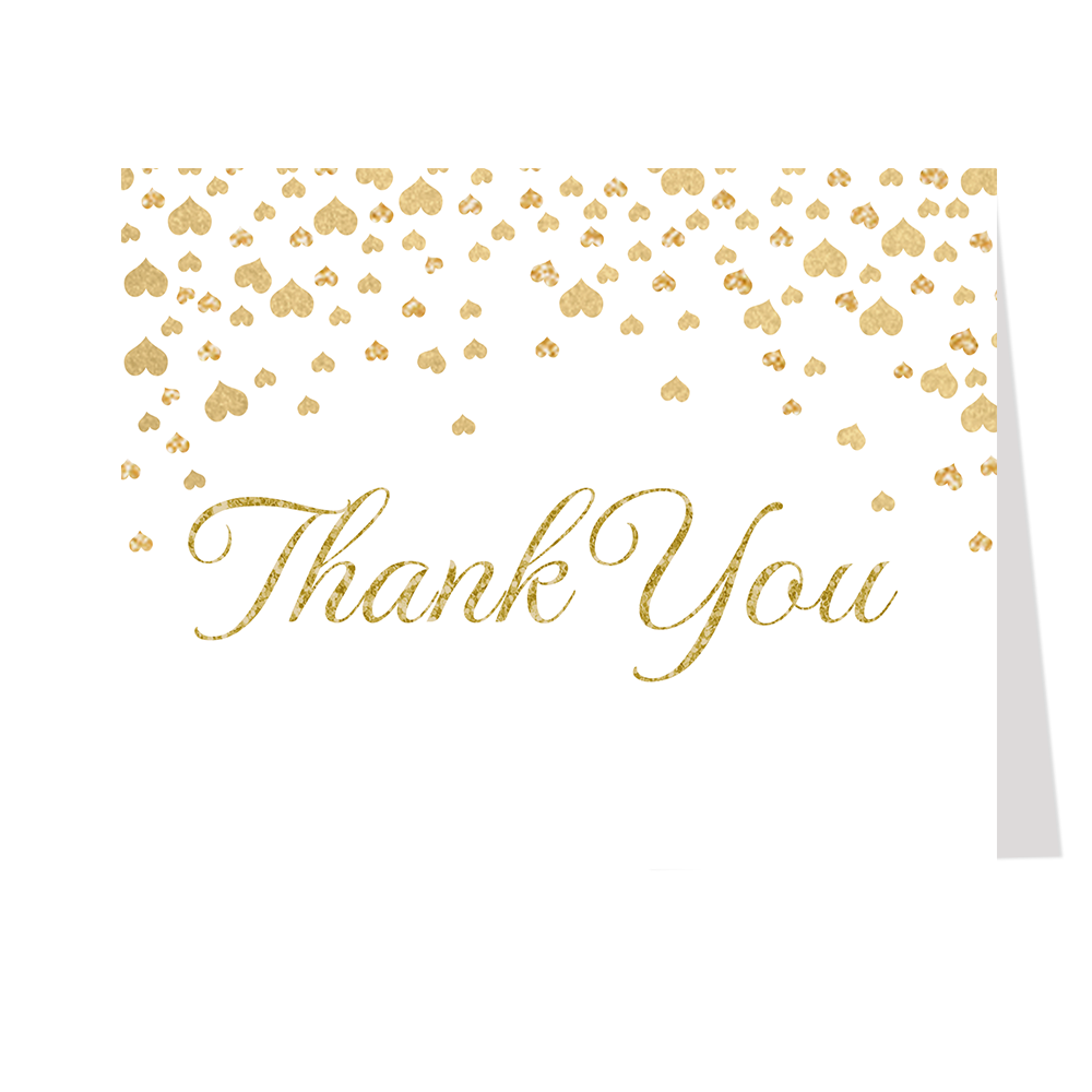 Confetti Hearts, White and Gold, Thank You Card