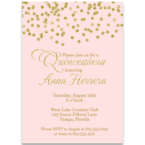 Quinceanera Gold Birthday Invitation