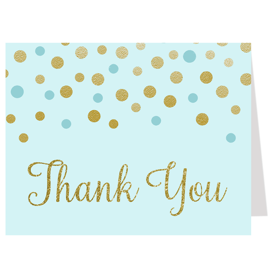 Confetti Baby Shower Blue and Gold Thank You Card