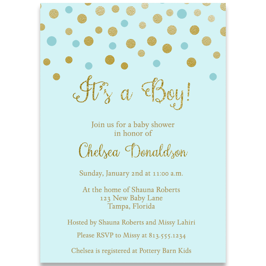 Confetti Baby Shower Blue and Gold Invitation