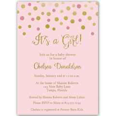 Confetti Baby Shower Pink and Gold Invitation