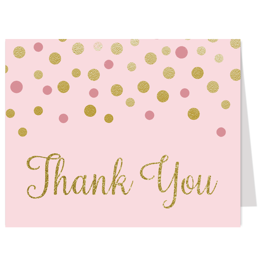 Confetti Shower Pink Thank You Card