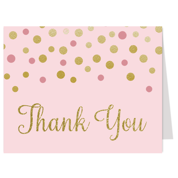 Confetti Sprinkle, Pink and Gold, Thank You Card