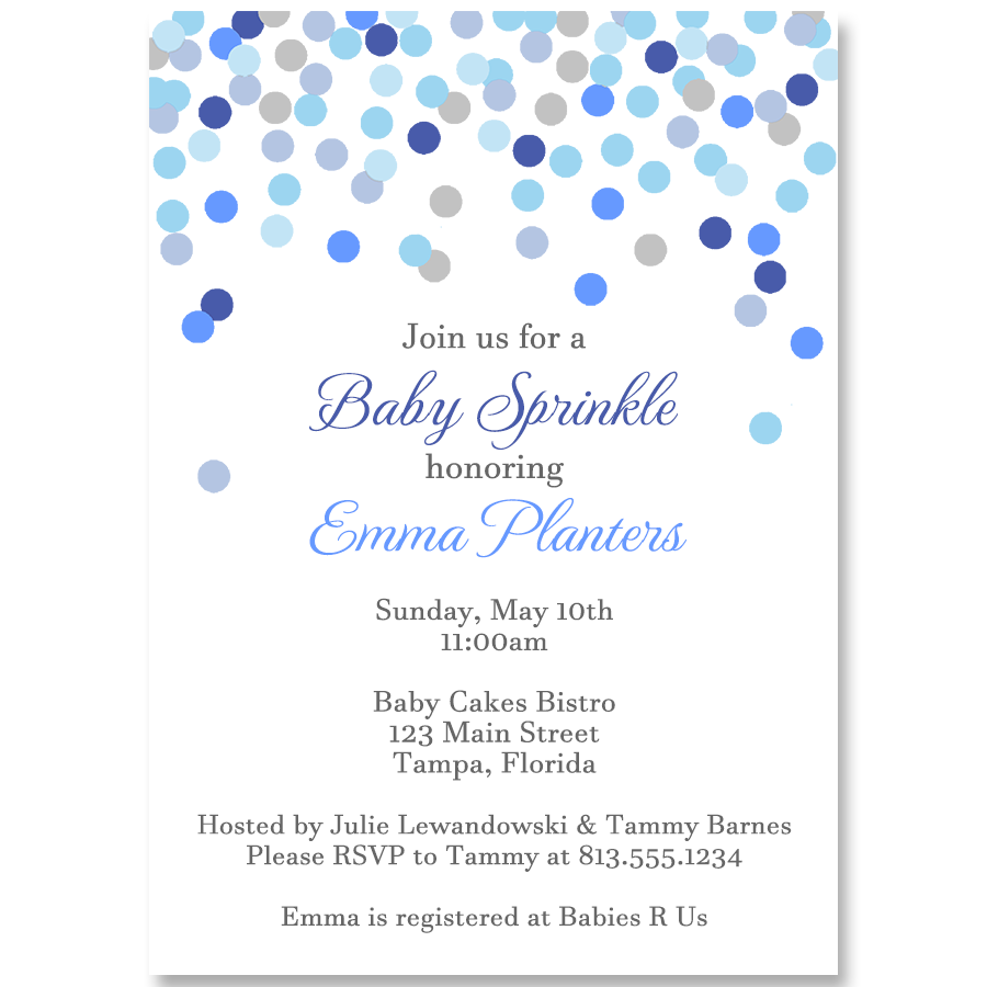 Confetti Sprinkle Baby Shower Invitation for Boys – The Invite Lady