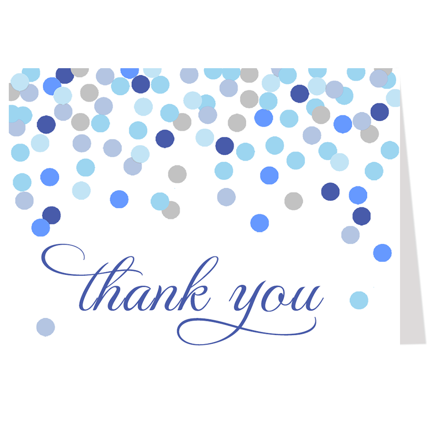 Confetti Baby Shower Blue Thank You Card
