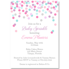 Confetti Baby Shower Pink Invitation