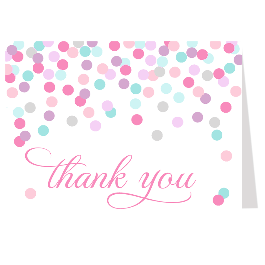 Confetti Baby Shower Pink Thank You Card