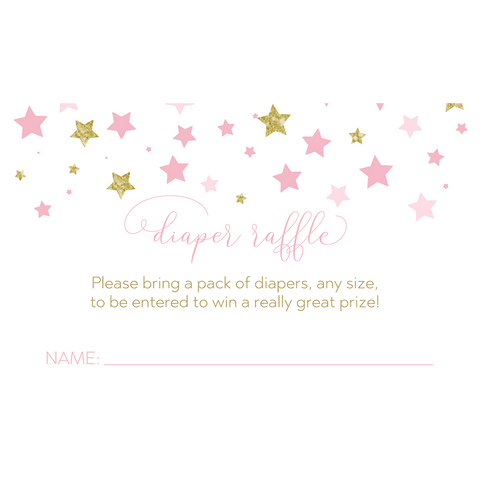 Confetti Twinkle Star Baby Shower Diaper Raffle Ticket