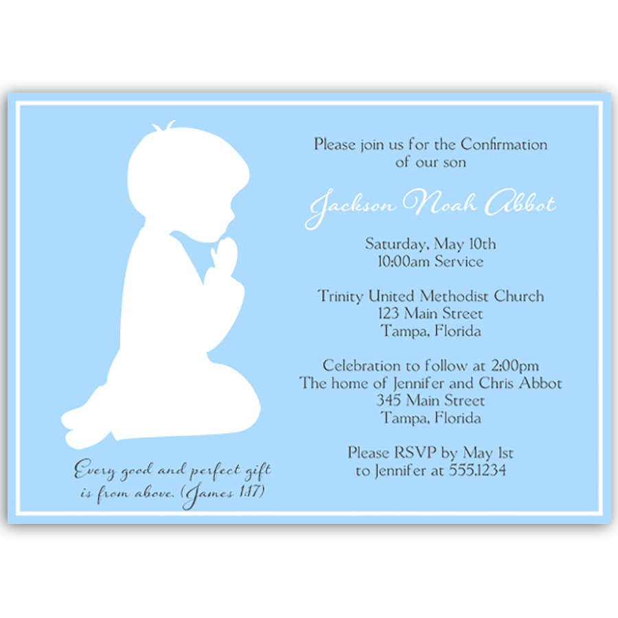 Praying Boy Silhouette Confirmation Invitation