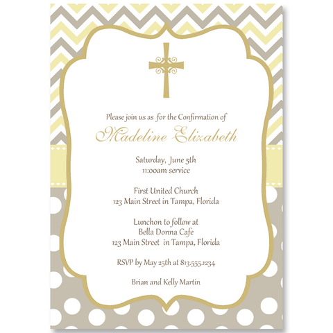 Cross Chevron Stripes and Dots Invitation