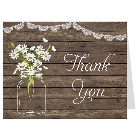 Country Mason Jar Thank You Card