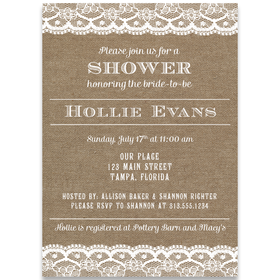 Country and Lace Bridal Shower Invitation