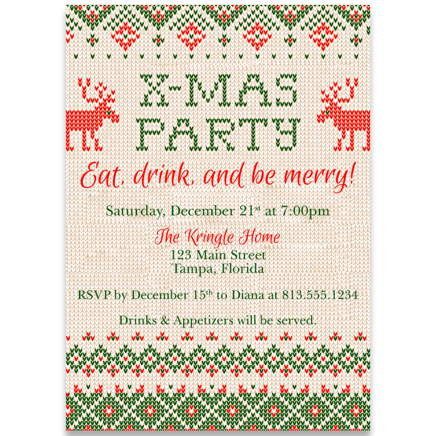 Cross-stitch Christmas Party Invitation