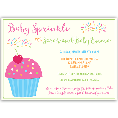 Cupcake Sprinkle Girls Baby Sprinkle Invitation
