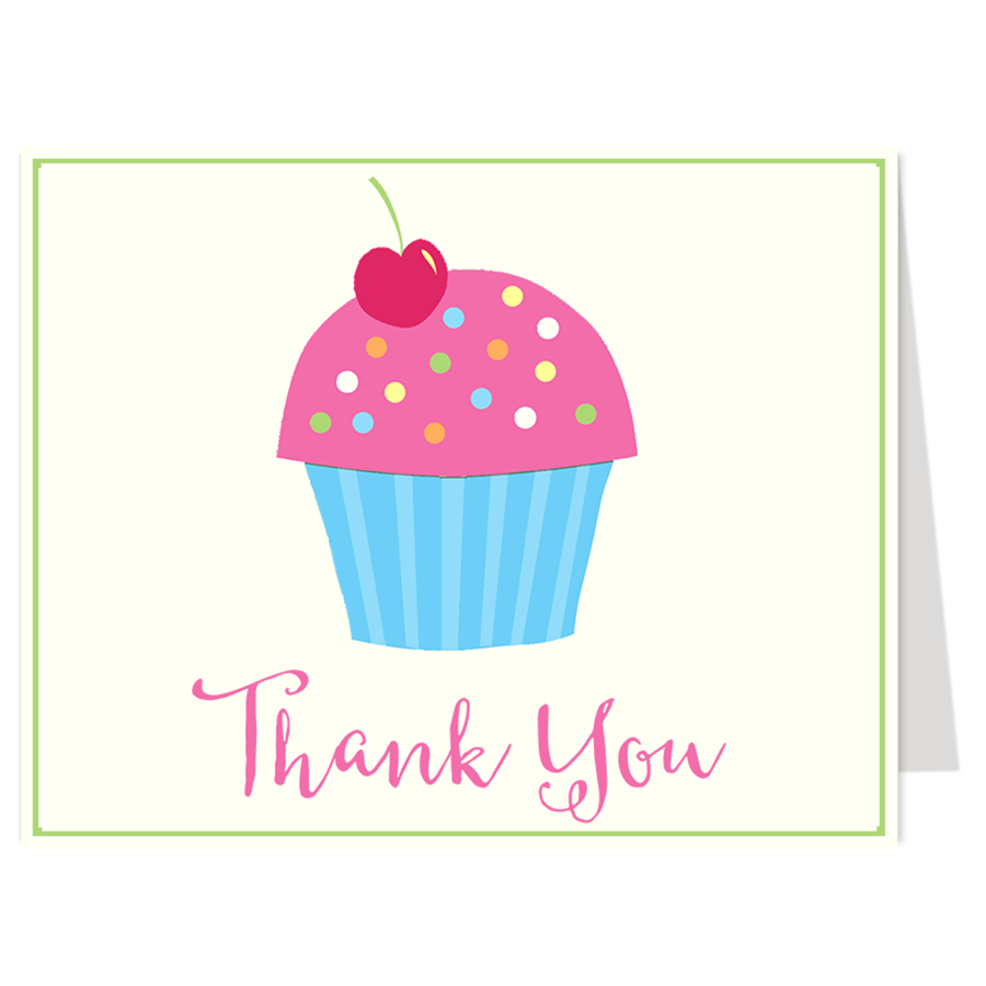 Cupcake Sprinkle Girls Thank You Card