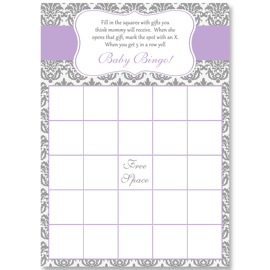 Damask Baby Shower, Purple, Bingo Card